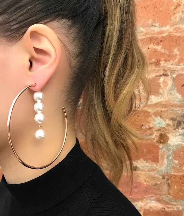 Joomi Lim 2-Part Large Hoop Earrings With Pearl Drops - Rose Gold/White