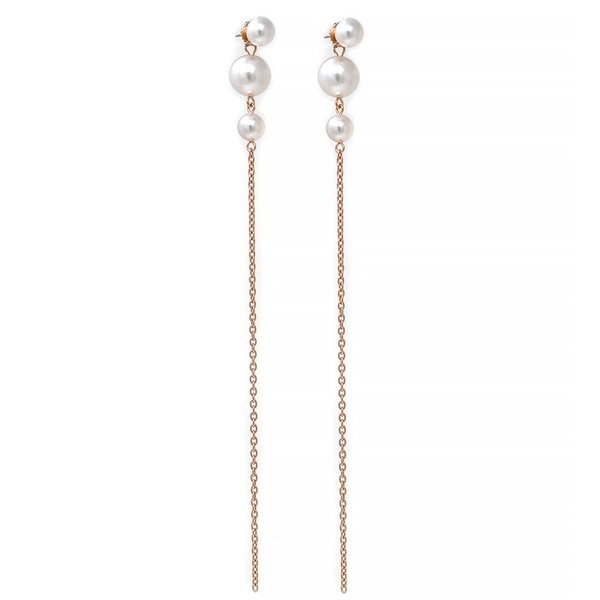 Joomi Lim 2-Part Pearl Earrings With Long Chains - Rose Gold/White