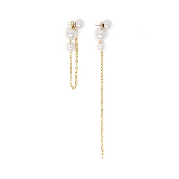 Joomi Lim 2-Part Pearl Earrings with Chains - Gold/White