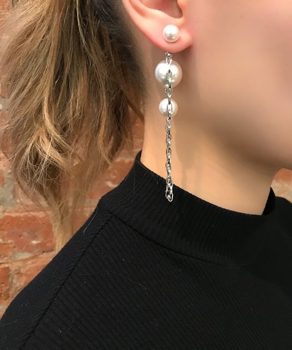 Joomi Lim 2-Part Pearl Earrings with Chains - Rhodium/White