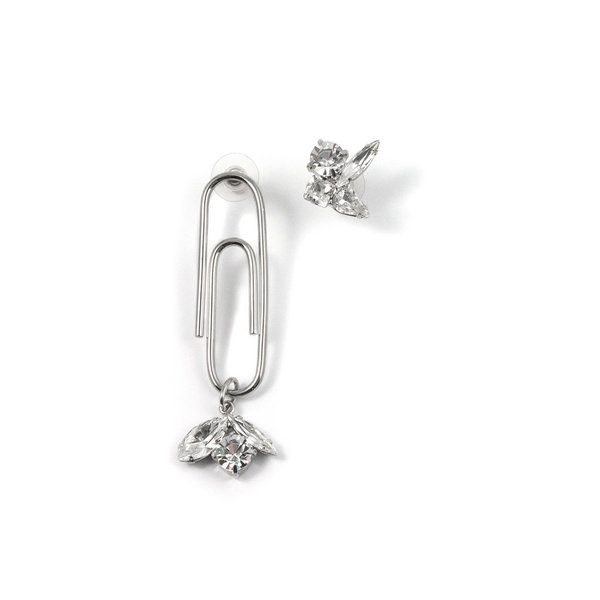 Joomi Lim Asymmetrical Crystal Earrings with Giant Paperclip - Rhodium/Crystal