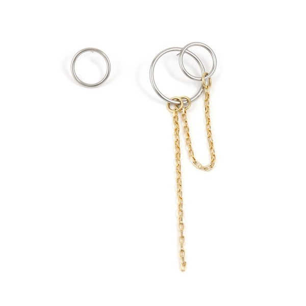 Joomi Lim Asymmetrical Double Hoop and Chain Earrings - Gold/Rhodium