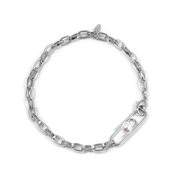 Joomi Lim Chain Necklace with Giant Paperclip and Pearl - Rhodium/White