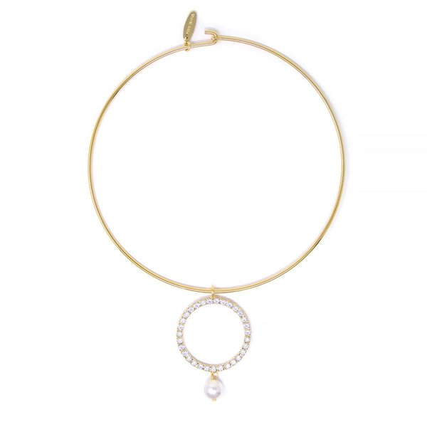 Joomi Lim Choker With Crystal Hoop and Pearl - Gold/Crystal/White