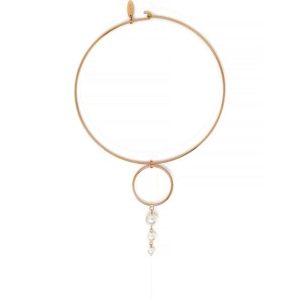 Joomi Lim Hoop & 3 Pearl Drop Choker Necklace - Rose Gold/White