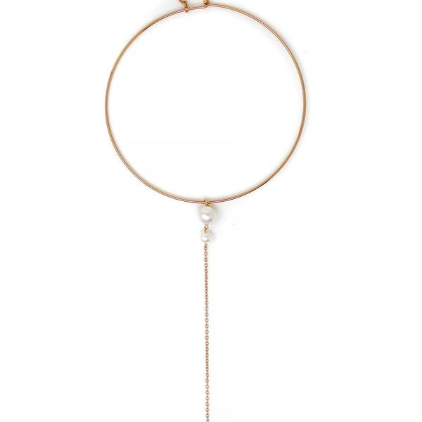 Joomi Lim Choker With Pearls and Long Chain - Rose Gold/White
