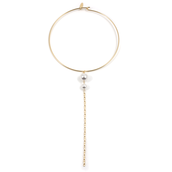 Joomi Lim Choker with Pearls and Long Chain - Gold/White