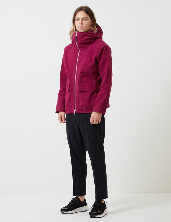 Albam Zipped Hooded Parka - Raspberry Red