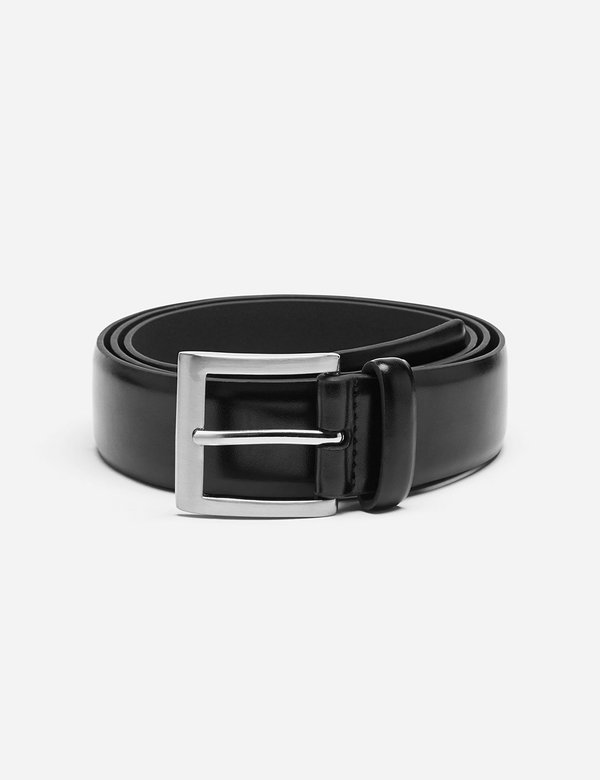 Dents Plain Leather Belt - Black Leather