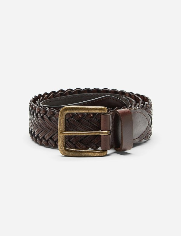 Dents Plaited Leather Belt - Brown Leather