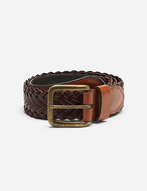 Dents Plaited Leather Belt - Tan Leather