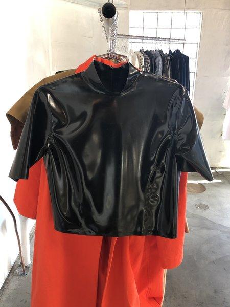 Busted Brand Latex Mock Tee - Black
