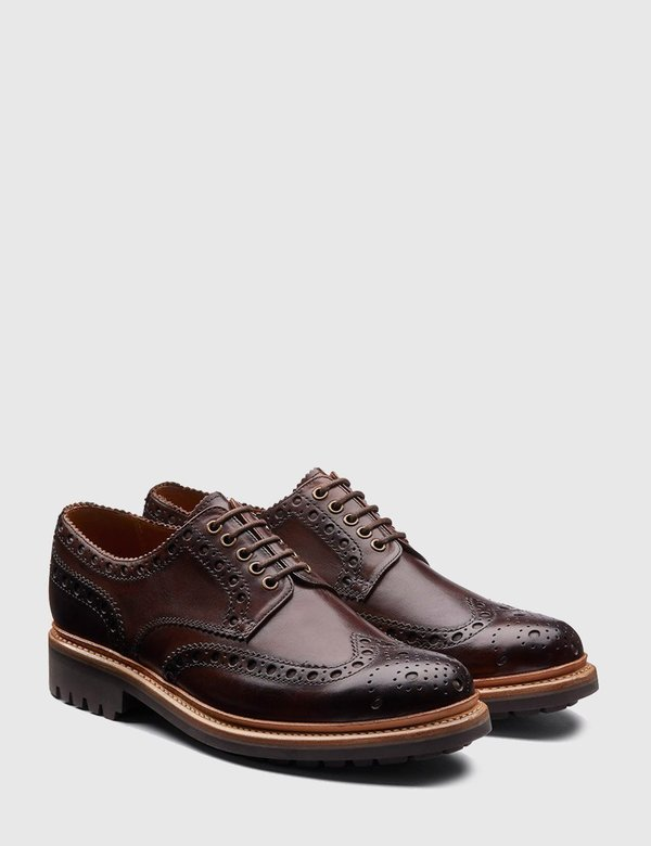Grenson Archie Leather Commando Sole Shoes - Brown