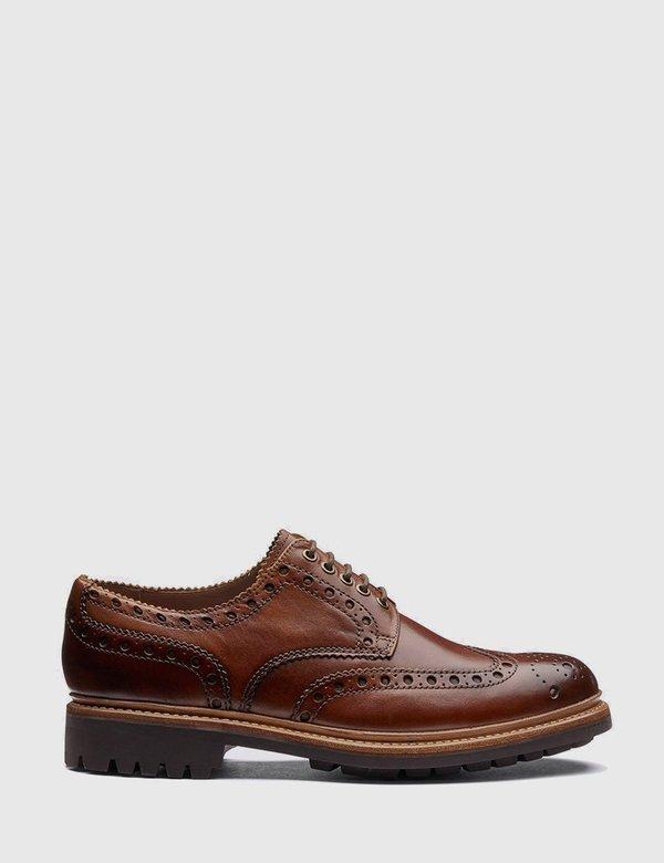 Grenson Archie Leather Commando Sole Shoes - Tan