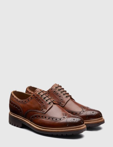 Grenson Archie Leather Commando Sole Shoes - Tan