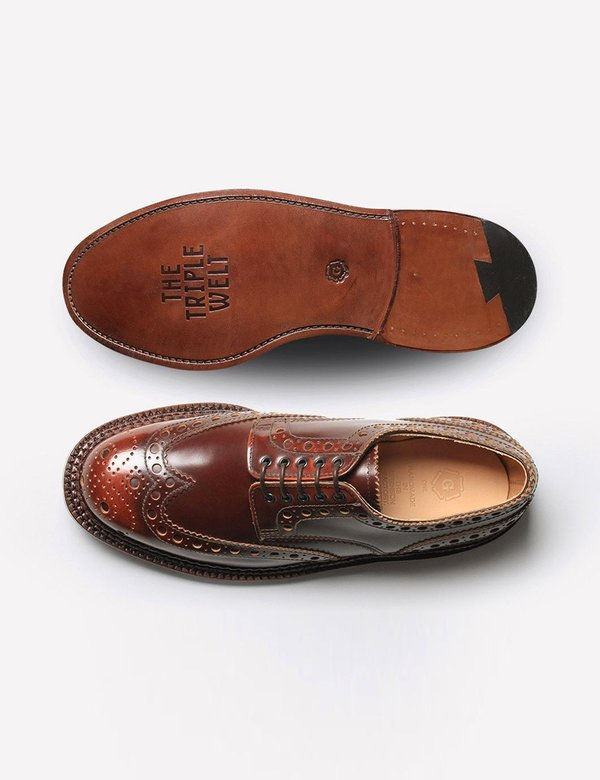 Grenson Archie Triple Welt Brogues - Mahogany