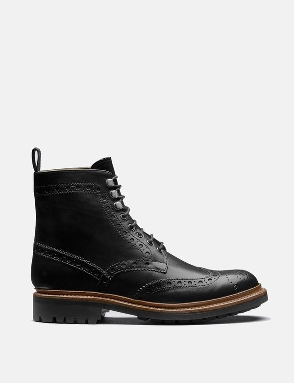 Grenson Fred Comamndo Sole Leather Boot - Black