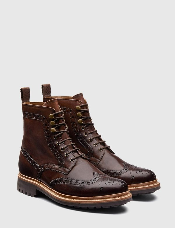 Grenson Fred Commando Sole Leather Boot - Brown