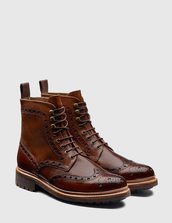 Grenson Fred Commando Sole Leather Boot - Tan