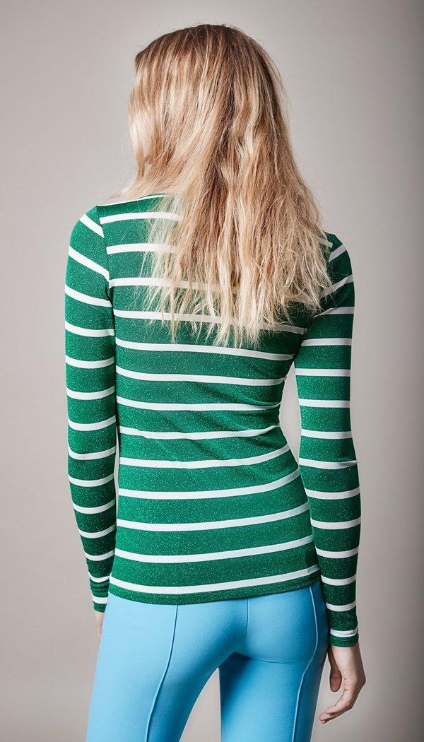 Smythe Nautical Scoop Neck Top - Metallic Green Stripe