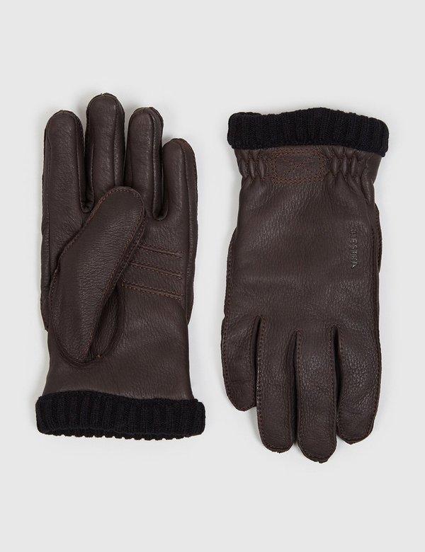 Hestra Primaloft Deerskin Rib Gloves - Dark Brown