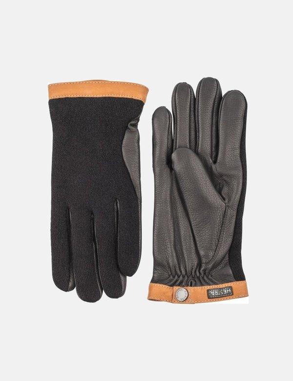 Hestra Tricot Deerskin Wool/Leather Gloves - Black/Black