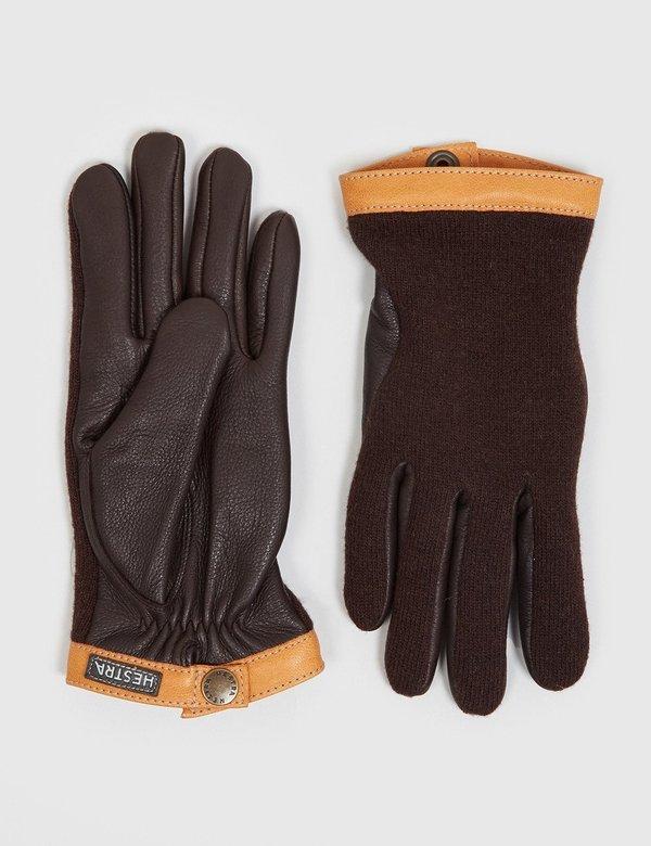 Hestra Tricot Deerskin Wool/Leather Gloves - Espresso/Dark Brown