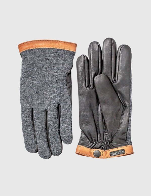 Hestra Tricot Wool/Leather Gloves - Charcoal Grey/Black