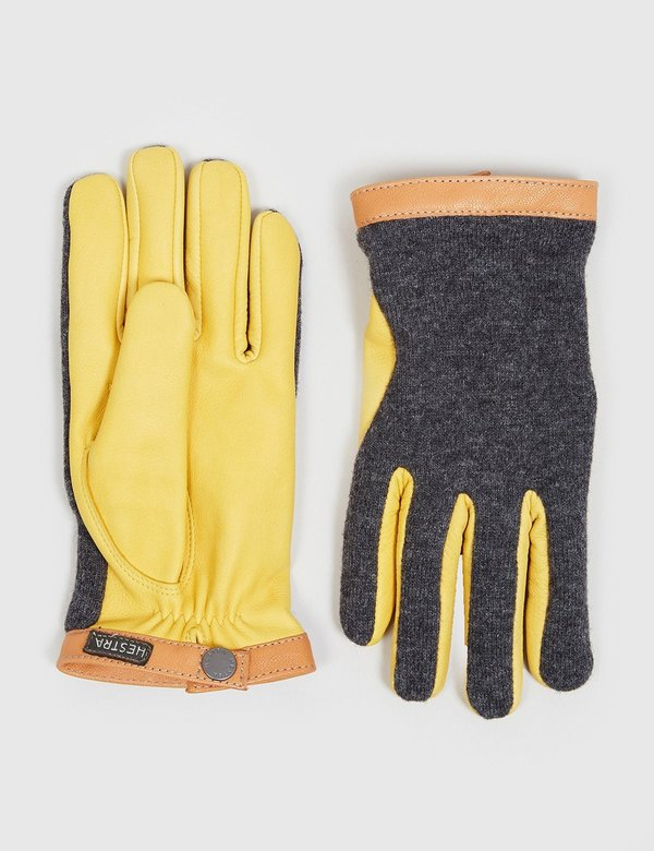 Hestra Wool/Leather Tricot Wool Gloves - Charcoal Grey/Natural Yellow
