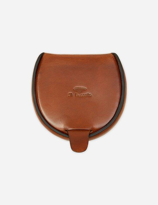 Il Bussetto Dome Leather Coin Case - Cappuccino Brown