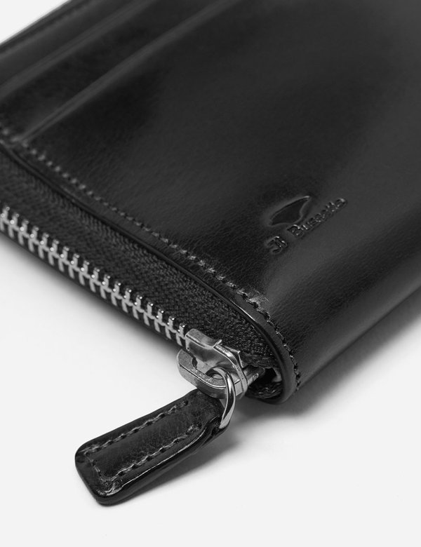 Il Bussetto Small Leather Zip Wallet - Black