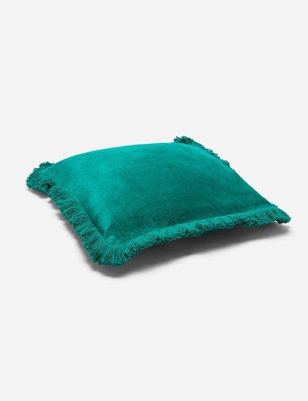 Liv Interior Fringed Velvet Cushion (45cm) - Emerald