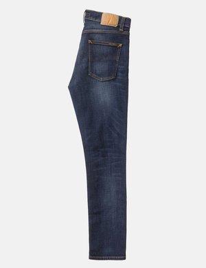 Nudie Lean Dean Slim Tapered Jeans - Dark Deep Worn Blue