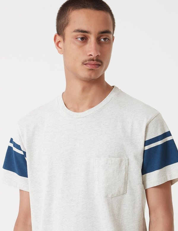 Velva Sheen College Arm Stripe T-shirt - Oatmeal/Navy