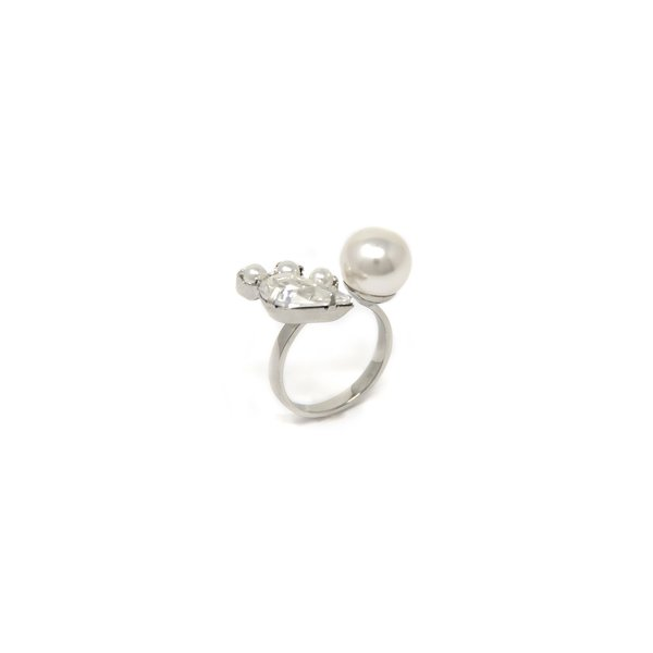 Joomi Lim Open Ring With Crystal and Pearls - Rhodium/Crystal/White