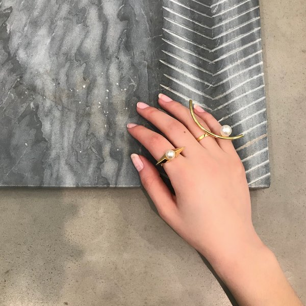 Joomi Lim Open Ring W/ Half Hoop & Pearl - Gold/White