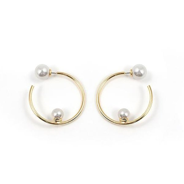 Joomi Lim Small Hoop Earrings with Affixed Pearls and Pearl Backs - Gold / White