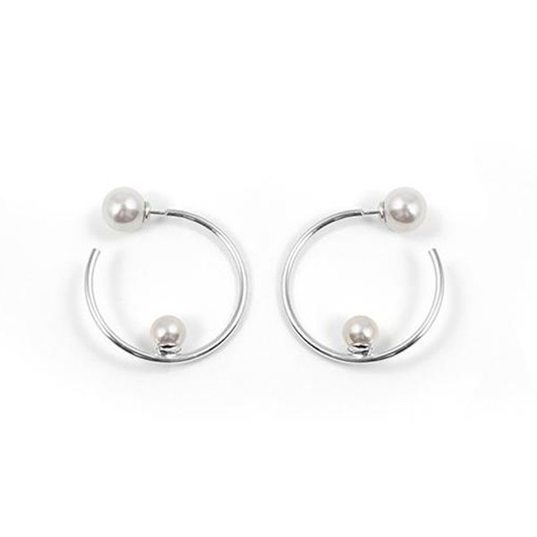 Joomi Lim Small Hoop Earrings with Affixed Pearls and Pearl Backs - Rhodium / White