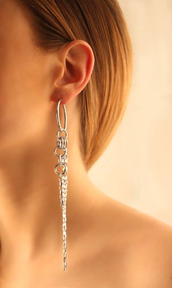 Joomi Lim Small Hoop Earrings With Multi Linked Chains - Rhodium