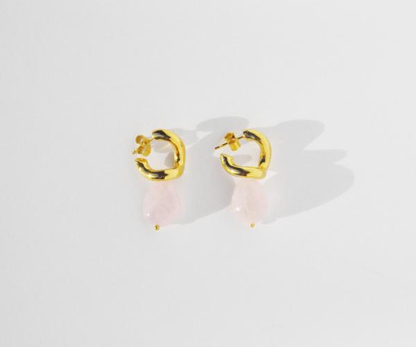 Brigitta rei earrings - rose quartz