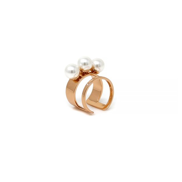 Joomi Lim Double Band Ring W/ 3 Pearls - Rose Gold/White