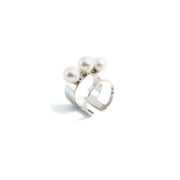 Joomi Lim Double Band Ring with 3 Pearls - Rhodium/White