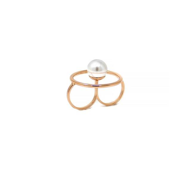 Joomi Lim Double Finger Hoop Ring - Rose Gold/White