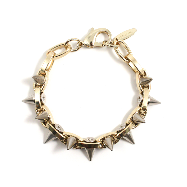 Joomi Lim Double Row Spike Bracelet - Gold/Rhodium