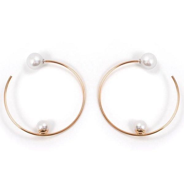 Joomi Lim Large Hoop Earrings W/ Affixed Pearls & Pearl Backs - Rose Gold/White