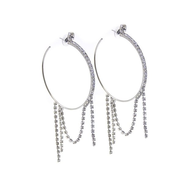Joomi Lim LARGE HOOP EARRINGS W/ CRYSTAL FRINGES - Rhodium/Crystal