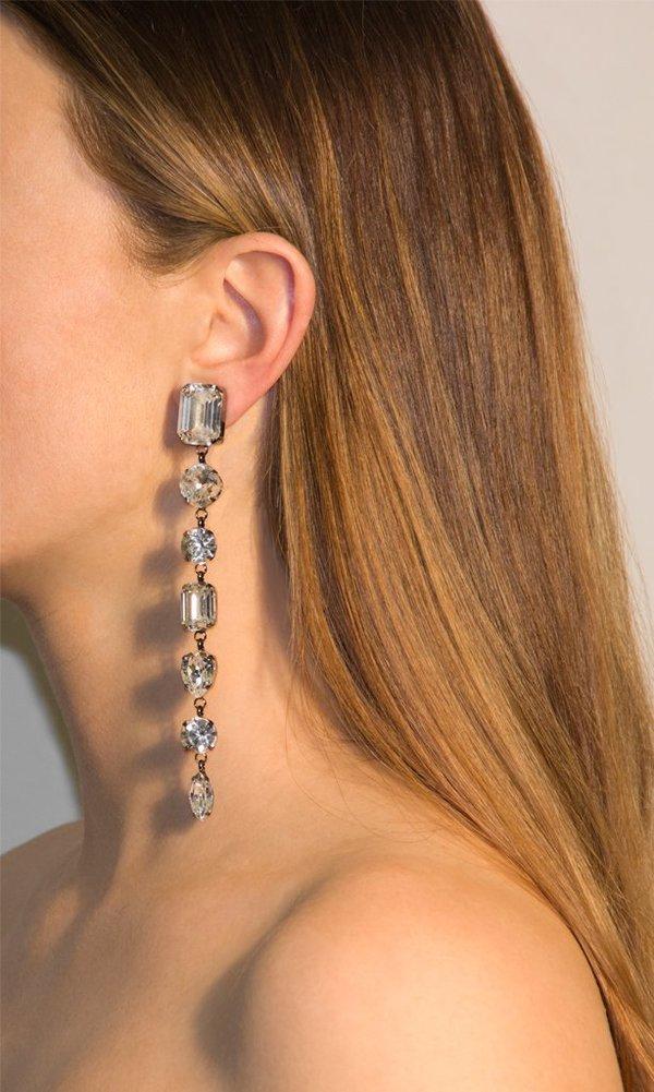 Joomi Lim Long Oversized Crystal Clip Earrings - Hematite/Crystal