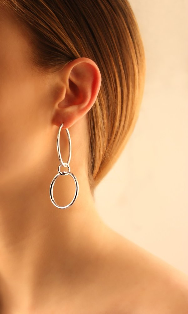 Joomi Lim Medium Double Link Hoop Earrings - Rhodium