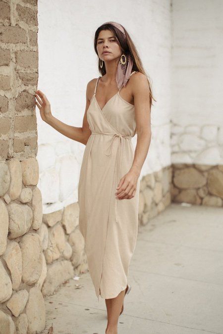 Ozma Silk Noil Palma Wrap Dress - Conch