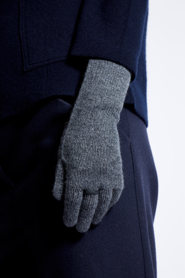 Oyuna Ring Cashmere Gloves - Slate Grey/Charcoal